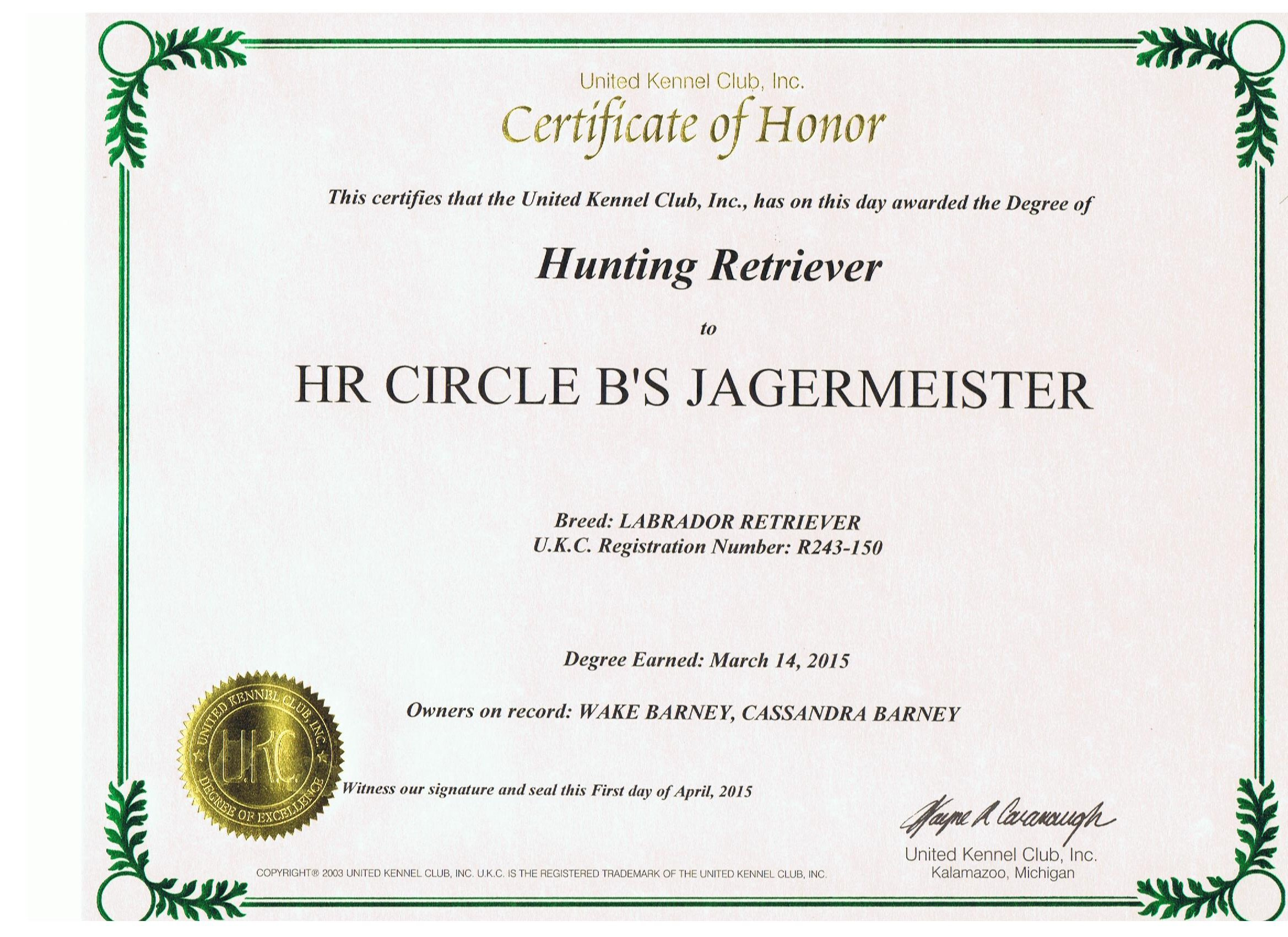 Jager's Certificate Of Honor.