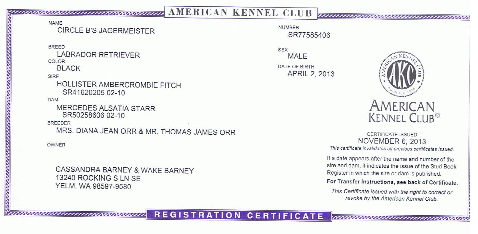 Jager's Registration.