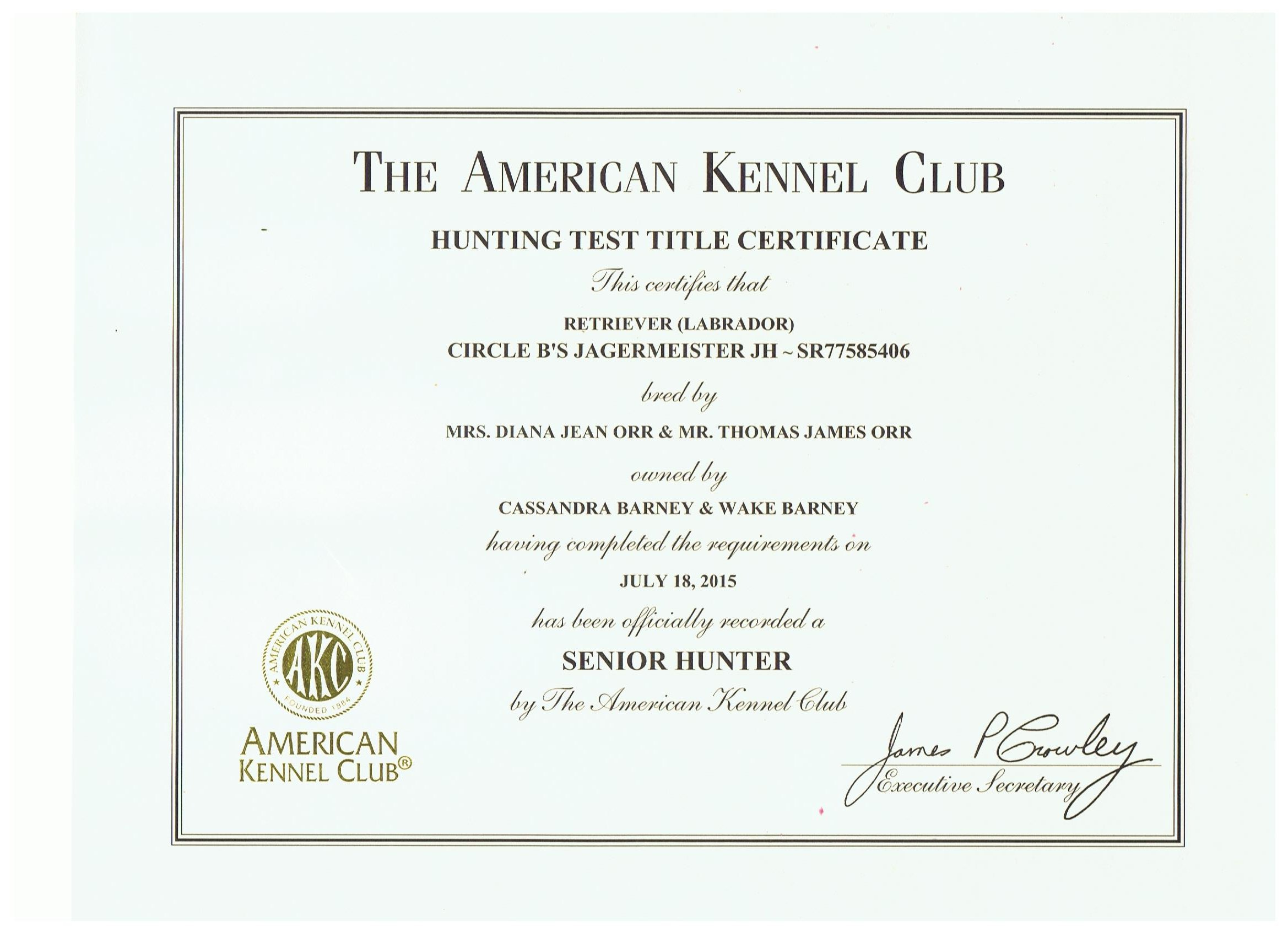 Jager's Certificate As Senior Hunter.